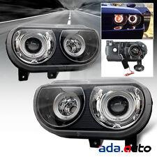 2008-2014 Dodge Challenger [Dual CCFL Halo] Projector HID Model Black Headlights