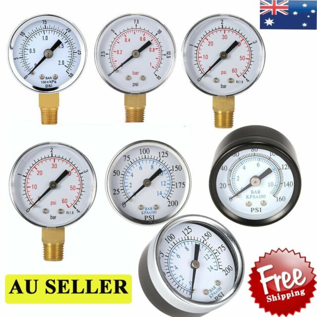 """New Water and Air Pressure Gauge New 1/4"""" 1/8"""" Brass Thread 0-15 PSI 0-1 Bar KR"""