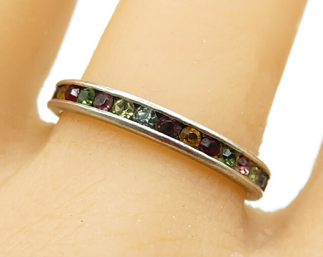 925 Sterling Silver - Vintage Multi-Colored Crystal Band Ring Sz 10 - R5823