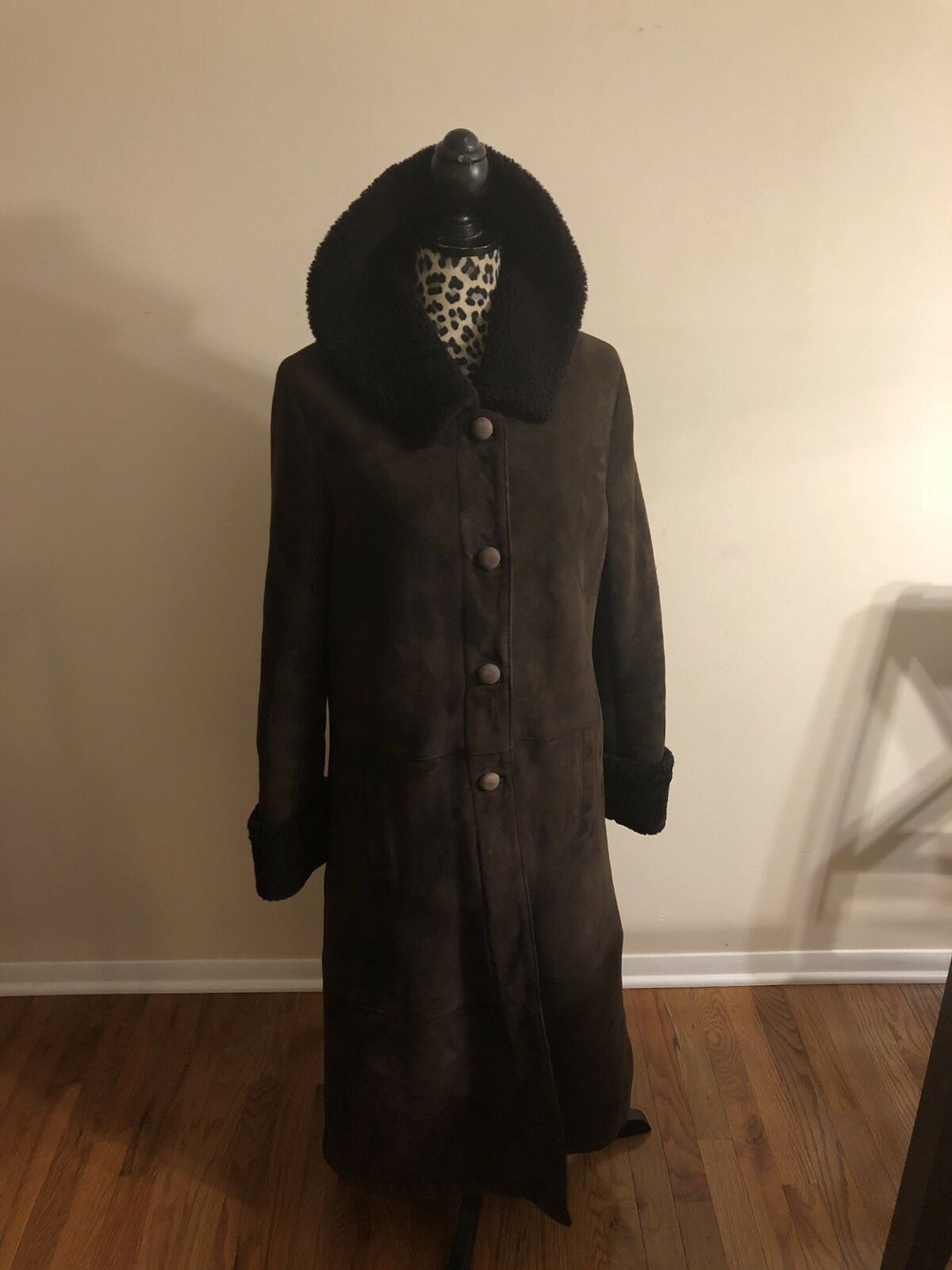 TSE  100% Shearling Dark Brown Full Length Size 12