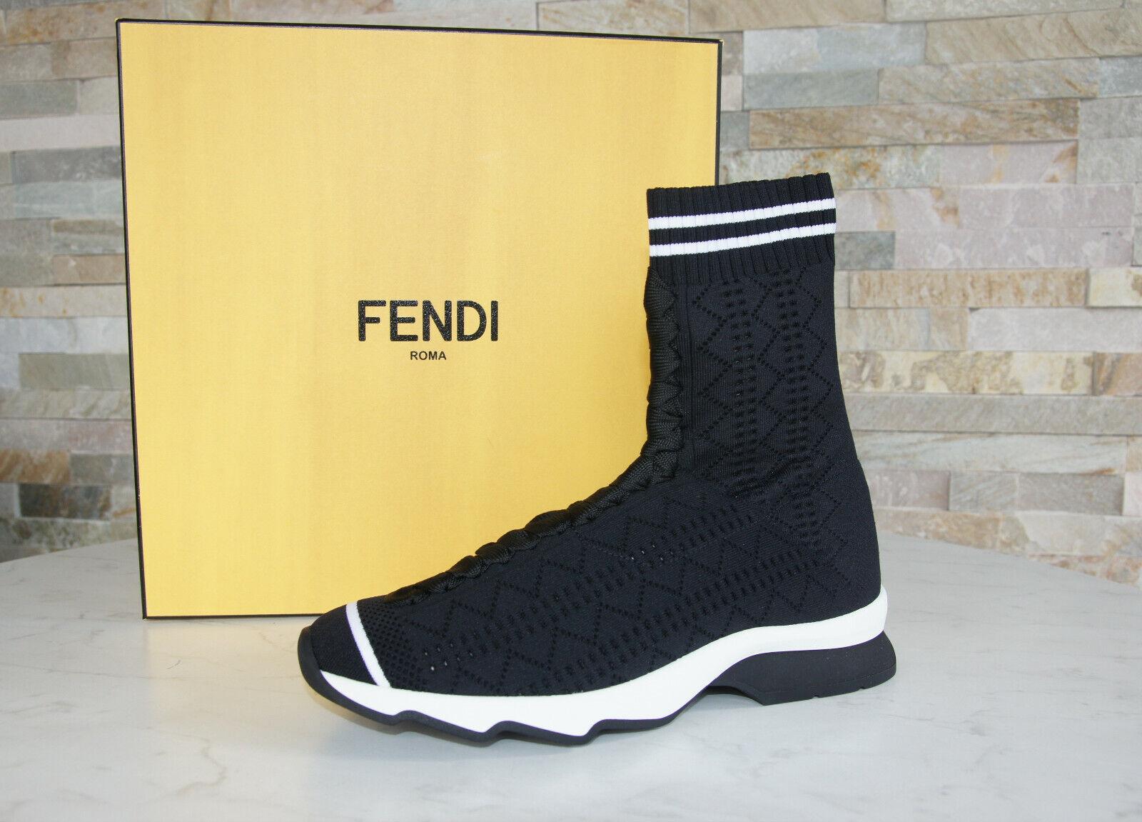 FENDI Gr 36 Stiefeletten Stiefelies Schuhe Polyamid schwarz weiß NEU ehem