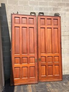 d2 26 one pair antique cherry pocket doors 80 inch wide by 105 hi ebay. Black Bedroom Furniture Sets. Home Design Ideas