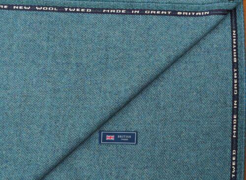 mezclar Cielo Azul//Azul Laguna Herringbone hecho en gran Brit 100/% Lana Tweed Tela