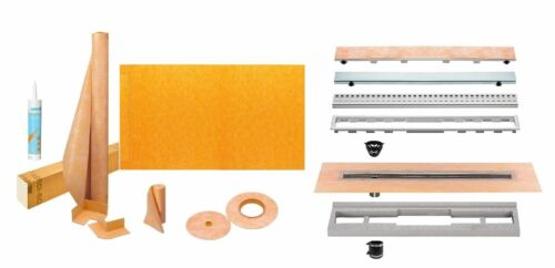 """KSLT965//1930S Tray with Linear Drain and Grate Kerdi-Line Shower Kit 38/"""" x 76/"""""""