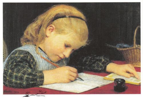 Schreibendes Mädchen Postkarte Albert Anker