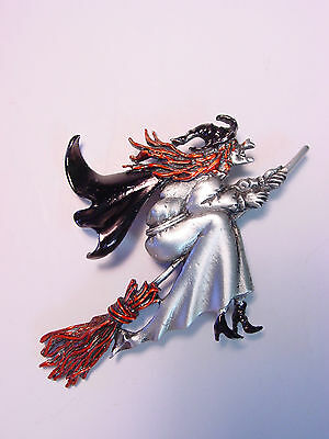 """""""JJ"""" Jonette Jewelry Silver Pewter HALLOWEEN Witch on Broom w/color Pin"""