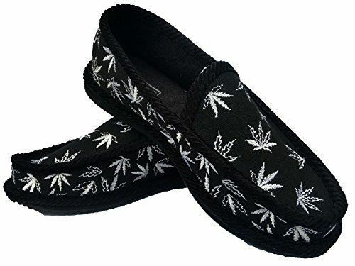 Black and White Weed Leaf Marijuana House shoes Slippers Trooper