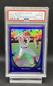 2011-Bowman-Chrome-Draft-Purple-Refractor-101-Mike-Trout-PSA-10-RC-Pristine