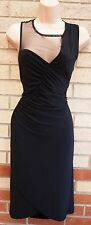 G21 BLACK RUCHED LYCRA MESH DETAIL TUBE BODYCON PENCIL PARTY EVENING DRESS 16 XL