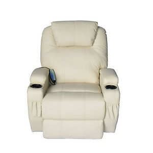 HOMCOM-Luxury-Heated-Massage-Sofa-Adjustable-Recliner-Chair-Armchair-PU-Cream