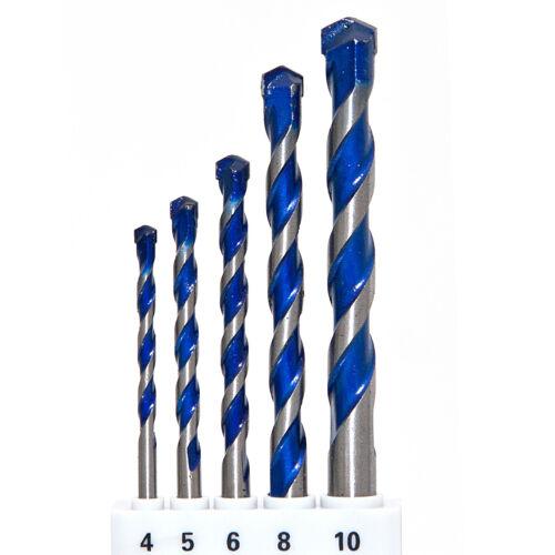 5 tgl 10 mm Fliesen Betonbohrer Satz Ø 4-5 6-8