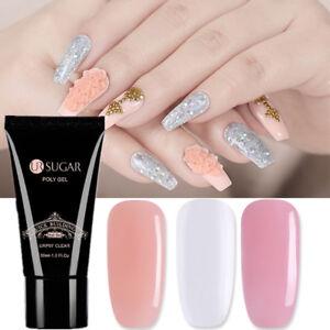 3stk-Poly-Schnell-Gebaeude-Gel-Nackt-Klar-Rosa-Nail-Art-Finger-Extension-Gel-Set