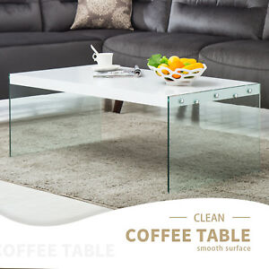 Image Is Loading High Gloss White Coffee Table With Tempered Glass
