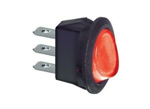 Interruttore-a-bilanciere-220V-6-5A-unipolare-rotondo-rosso-luminoso-diametro-23