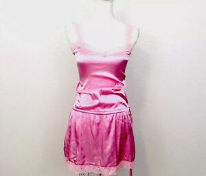 ce3fe51d04 VINTAGE BUBBLE PINK LACE 1 PC~NIGHTIE TEDDY ROMPER SILK Sissy RUFFLE ...