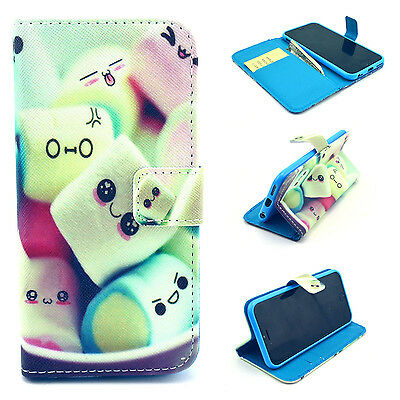 Candy Flip Leather Wallet Card Holder Case Rubber Stand Cover For Various Phones