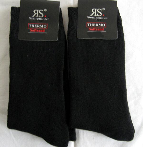2 Paar Damen Thermosocken Wintersocken mit Innenfrottee schwarz 35 bis 42