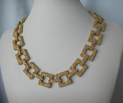 Vintage Textured Gold Metal Square Ellen Kiam Link Necklace