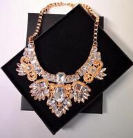 Statement Glam Vintage Floral Rhinestone Bib Front Necklace Gold Multi