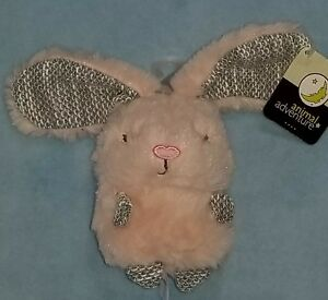 Animal-Adventure-Pink-Bunny-Rabbit-Plush-Rattle-Soft-Stuffed-Baby-Toy-New
