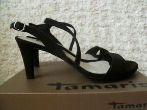 Details zu Schicke Sandalen Von Tamaris Gr. 39 Wieldleder Leder schwarz