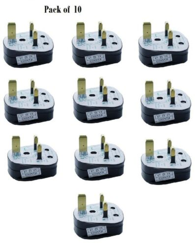 MAINS PLUG, 5A FUSE FITTED 5Amp BLACK Pack of 10