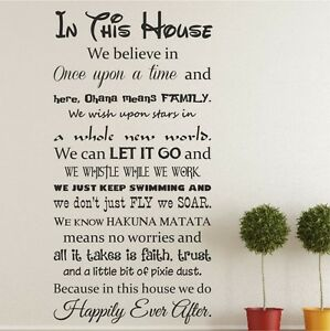 In This House Happily Ever After We Do Disney Like Wall Sticker
