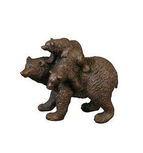 Htdeco - 100 % bronze - Statue en bronze - L'ours et ses oursons