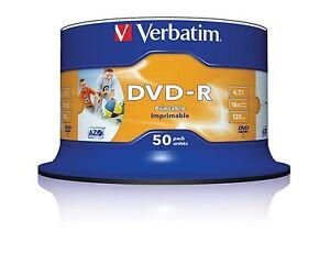 50 DVD-R Printable Verbatim Imprimibles 4.7 GB 10 25 100 DVD CD -R +R Wide Full