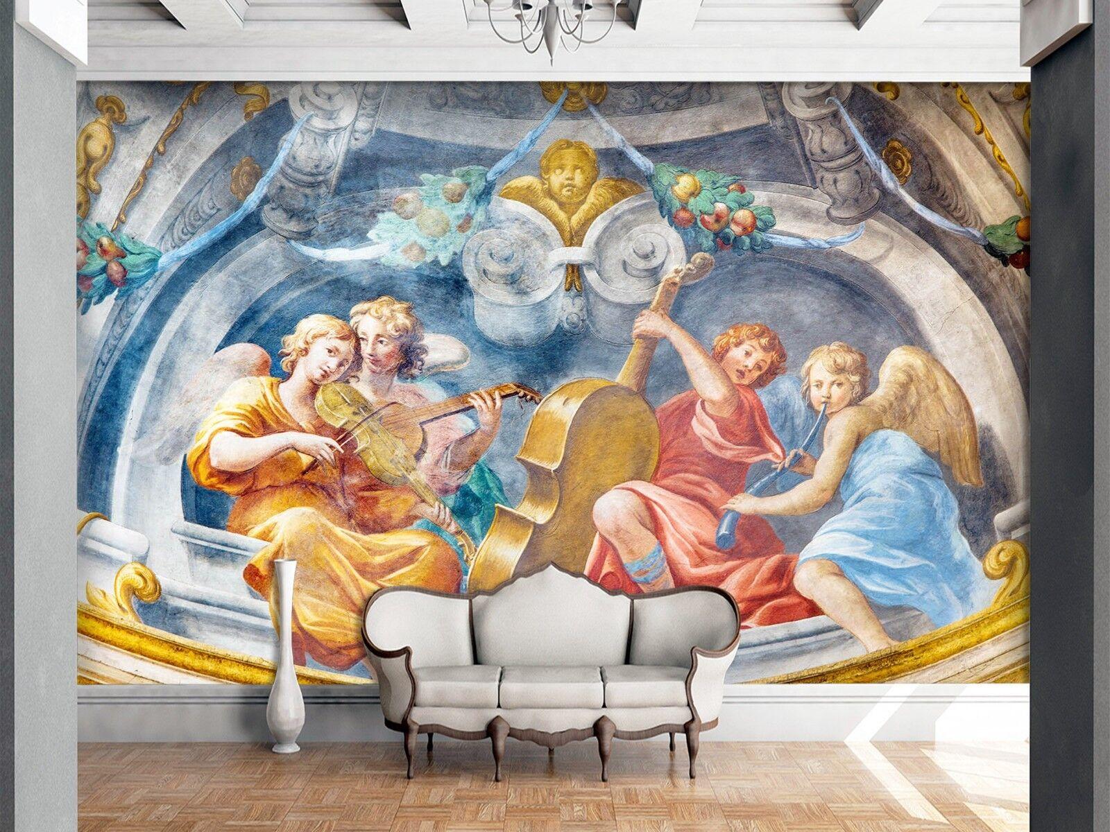 3D Musical Instrument Angel 2 Wallpaper Mural Print Wall Indoor Wallpaper Murals
