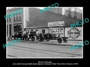OLD-LARGE-HISTORIC-PHOTO-OF-DENVER-COLORADO-FITCH-FOUR-DRIVE-TRACTOR-STORE-1930
