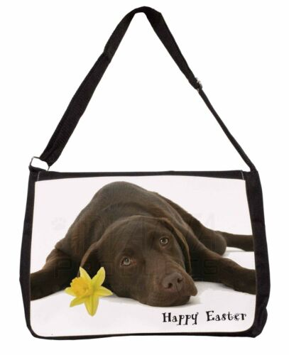 'Happy Easter' Chocolate Labrador Large Black Laptop Shoulder Bag S, ADL54DA1SB