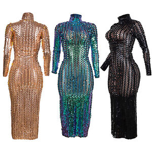 Women's Long Sleeve Hollow Out Dresses See-Through Metallic Bodycon Party Dress