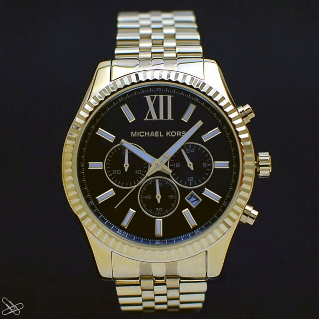 Michael Kors MK8286 Herrenuhr Chronograph Edelstahl Farbe: Gelbgold / Schwarz