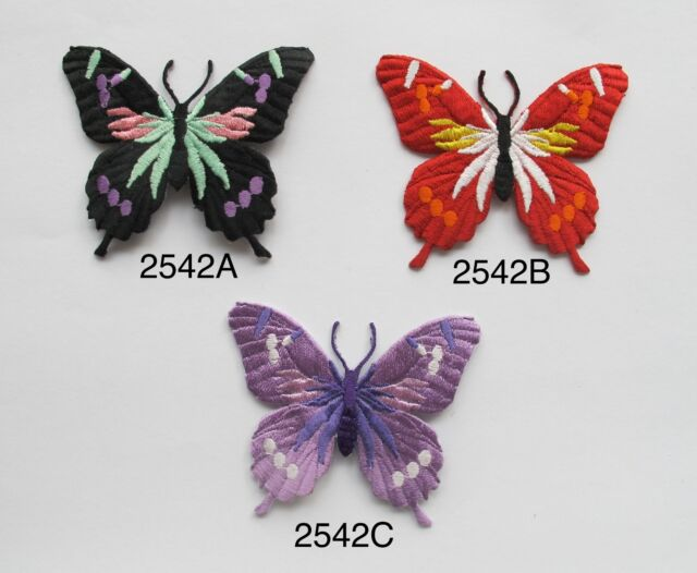 #2542 Black,Purple,Red Butterfly Embroidery Iron On Applique Patch