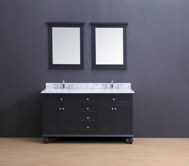 60 Double Sink Bathroom Vanity Set White Carrera Marble Charcoal Gray Madison For Sale Online