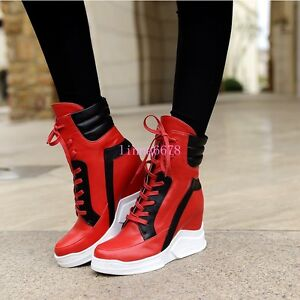 Womens-High-Top-Ankle-Boots-Lace-Up-Sneakers-High-Hidden-Wedge-Heel-Trainers-HOT