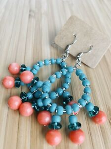 Coral and Turquoise Glass Bead Necklace and Earrings