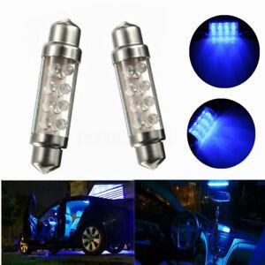 2x-42mm-8-LED-Soffitte-Innenraumbeleuchtung-Sofitte-Innenraum-Birne-12V-Blau