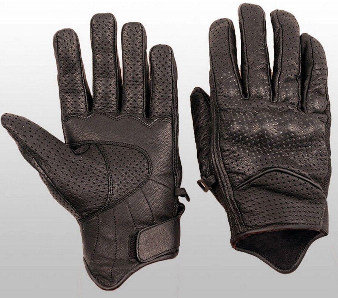 XL Heyberry Motorradhandschuhe Leder Motorrad Handschuhe kurz schwarz grün Gr