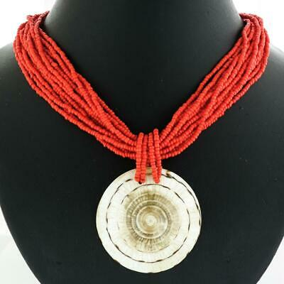 """Red Sea Coral Round Beads /& Ball Pendant Silver Necklace 18/""""-20/"""""""