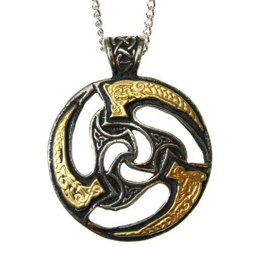Nordic Lights Sun Wheel Triskilian Pendant Necklace Pewter Gilt Celtic Manx