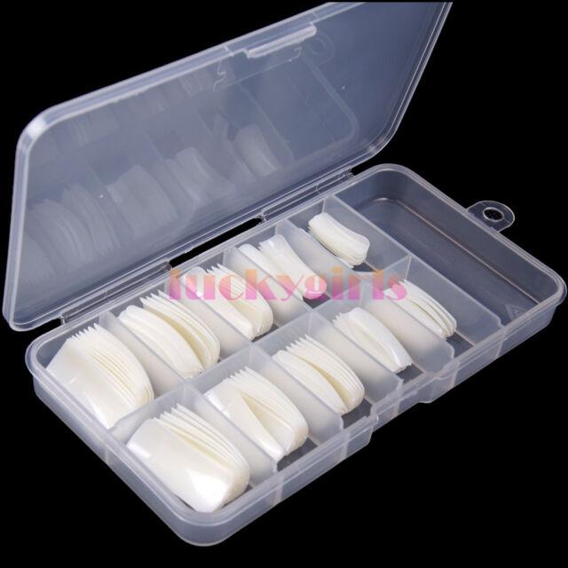 100Pcs Natural White False Fake French Acrylic UV Gel Half Nail Art Tips &  Box