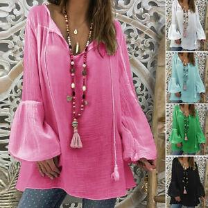 Women-Ladies-Plus-Size-Long-Sleeve-V-Neck-Pullover-Tops-Shirt-Loose-Blouse-Coat