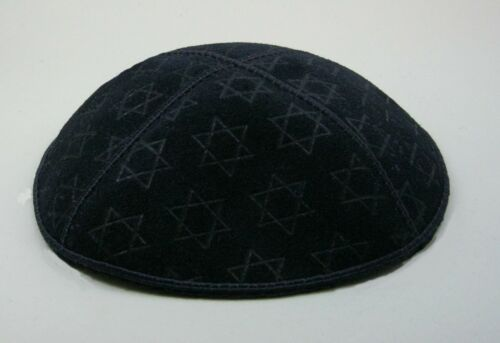 Black Suede Kippa with Star of David embossed pattern kippot Yarmulke NEW