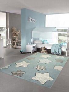 Kinderteppich Sterne Kinderzimmerteppich Junge In Blau Creme Grau Ebay