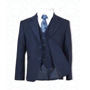Boys-Formal-Wear-5-PC-Bleu-Marine-Costume-Pageboy-Bal-Communion-Enfants-Mariage-Costumes