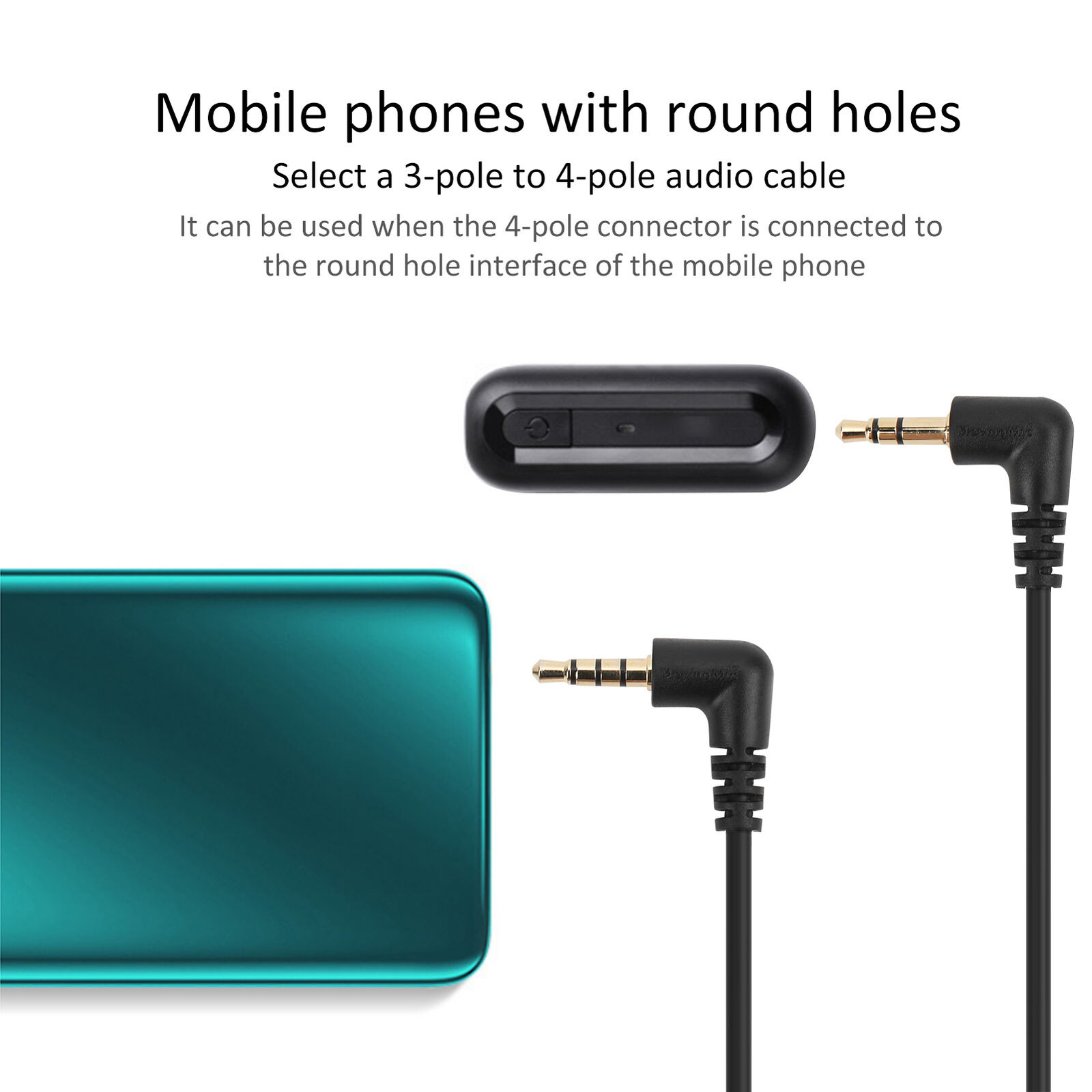 Portable 3.5mm TRS‑TRRS Audio Connection Cable for Microphone to Mobile Phone