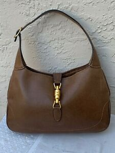 Details About Vintage Brown Leather Gucci Jackie O Handbag