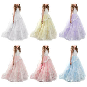 315428818 Little Big Girl Lace Flower Butterfly Tutu Dress Princess Pageant ...